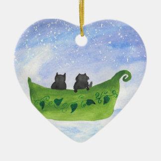Ornamento De Cerâmica A coruja e o gatinho