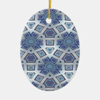 Ornamento De Cerâmica A engrenagem geométrica artística azul gosta do
