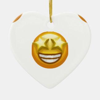 Ornamento De Cerâmica a estrela eyes o emoji