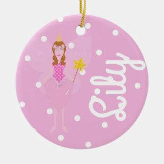 Ornamento De Cerâmica A fada cor-de-rosa/ø Natal Dble-tomou partido