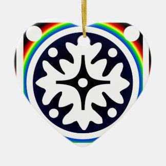 Ornamento De Cerâmica A flor abstrata sae do design do arco-íris