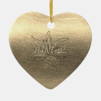 Ornamento De Cerâmica A flor bonito do lírio do ouro floral adiciona o