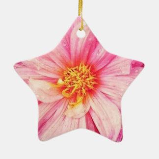 Ornamento De Cerâmica A flor cor-de-rosa da dália Dble-Tomou partido