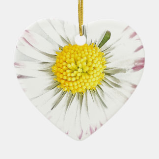 Ornamento De Cerâmica A flor da margarida Dble-tomou partido coração