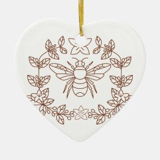 Ornamento De Cerâmica A flor do café do zangão sae do ícone