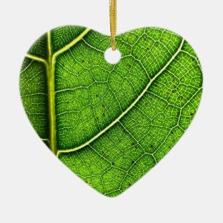 Ornamento De Cerâmica A folha Dble-tomou partido coração Ornanent
