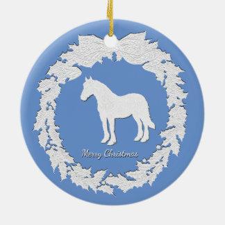 Ornamento De Cerâmica A grinalda do cavalo branco personaliza o texto da