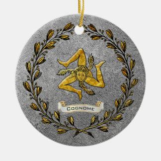 Ornamento De Cerâmica A herança Trinacria siciliano personaliza