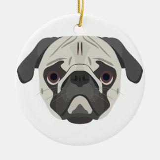 Ornamento De Cerâmica A ilustração persegue o Pug da cara