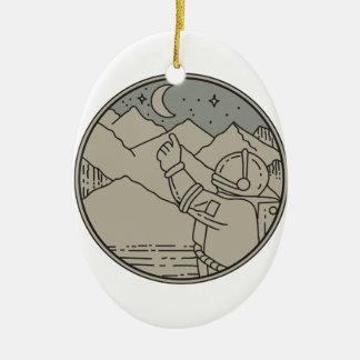 Ornamento De Cerâmica A lua do astronauta Stars a mono linha do círculo