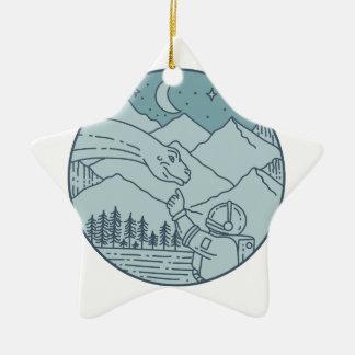 Ornamento De Cerâmica A lua do Brontosaurus do astronauta Stars o