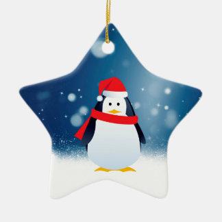 Ornamento De Cerâmica A neve vermelha do Natal do chapéu do papai noel