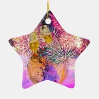 Ornamento De Cerâmica A noite brilha com fogos-de-artifício