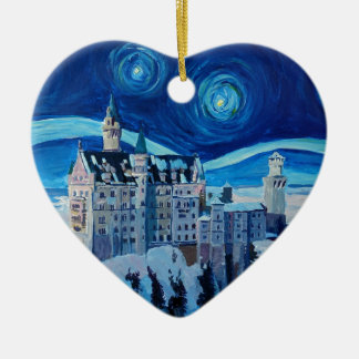 Ornamento De Cerâmica A noite estrelado com castelo romântico Van Gogh