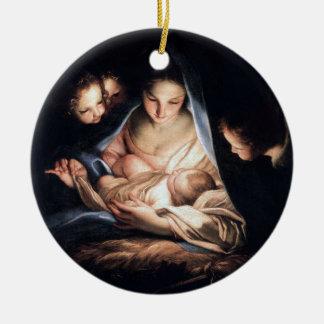 Ornamento De Cerâmica A noite santamente - decoração redonda da árvore