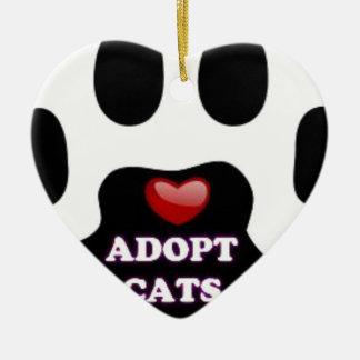 Ornamento De Cerâmica A pata do gato adota gatos com coração vermelho