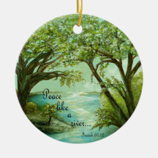 Ornamento De Cerâmica A paz gosta de um rio