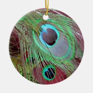 Ornamento De Cerâmica A pena de fluxo do pavão dos olhos azuis