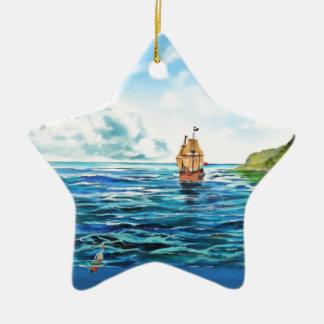 Ornamento De Cerâmica A pintura pequena do seascape da sereia