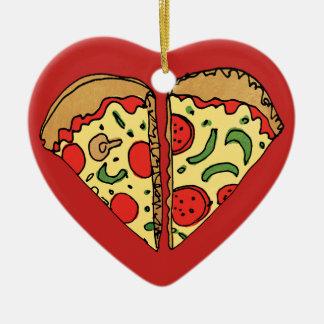 Ornamento De Cerâmica A pizza do amor adiciona nomes