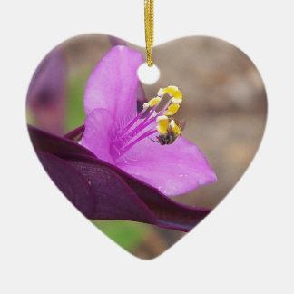 Ornamento De Cerâmica a planta roxa chamou o spiderwort e uma abelha