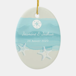 Ornamento De Cerâmica A praia azul da aguarela do aqua da estrela do mar