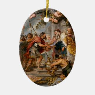 Ornamento De Cerâmica A reunião de Abraham e de arte de Melchizedek