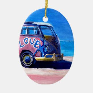 Ornamento De Cerâmica A série do ônibus do surf - o ônibus do surf do