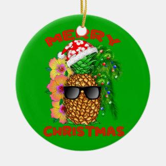 Ornamento De Cerâmica Abacaxi do papai noel do Feliz Natal