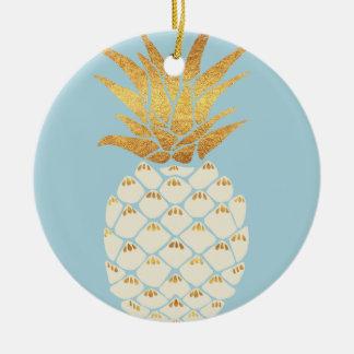 Ornamento De Cerâmica Abacaxi dourado