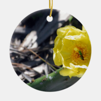 Ornamento De Cerâmica abelha iridescente na flor dos nopales