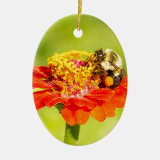 Ornamento De Cerâmica abelha na flor vermelha com sacos do pólen