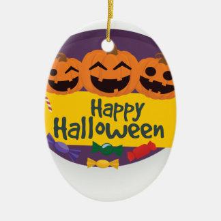 Ornamento De Cerâmica Abóbora feliz do Dia das Bruxas