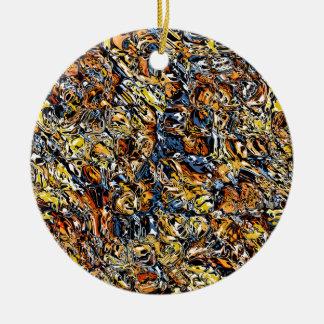 Ornamento De Cerâmica Abstrato da laranja e do azul
