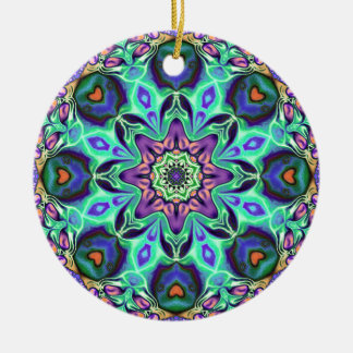 Ornamento De Cerâmica Abstrato da mandala de turquesa