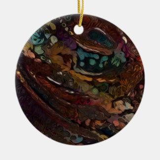 Ornamento De Cerâmica Abstrato de Brown e de azul