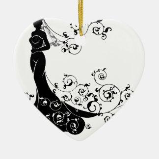 Ornamento De Cerâmica Abstrato do casamento da silhueta da noiva