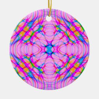 Ornamento De Cerâmica Abstrato do teste padrão do caleidoscópio do rosa