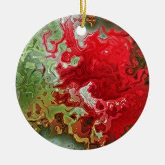 Ornamento De Cerâmica Abstrato do vermelho e do verde
