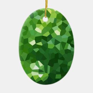 Ornamento De Cerâmica Abstrato verde do mosaico do vitral da forma do