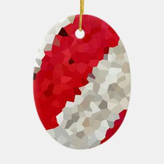 Ornamento De Cerâmica Abstrato vermelho e branco do feriado de doces do