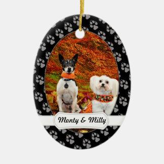Ornamento De Cerâmica Acção de graças da queda - Fox Terrier de Monty &