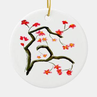 Ornamento De Cerâmica Acento vermelho das flores de cerejeira