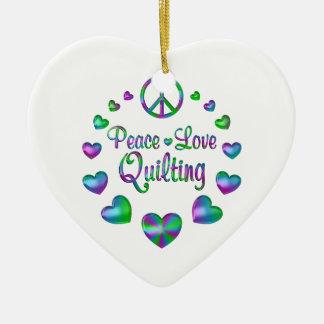 Ornamento De Cerâmica Acolchoado do amor da paz