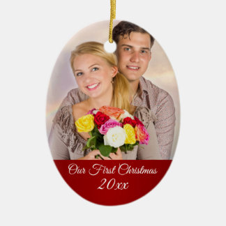 Ornamento De Cerâmica Acople a primeira foto do feriado do Natal
