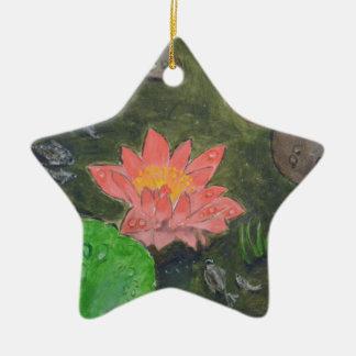 Ornamento De Cerâmica Acrílico em canvas, flor cor-de-rosa do lírio de