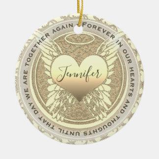 Ornamento De Cerâmica Adicione as asas do anjo e o memorial conhecidos