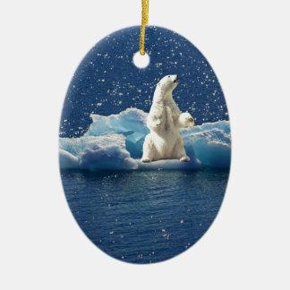 Ornamento De Cerâmica Adicione o SLOGAN para salvar o gelo ártico do