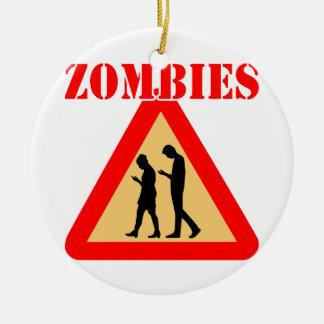 Ornamento De Cerâmica Adolescentes do zombi com telemóveis