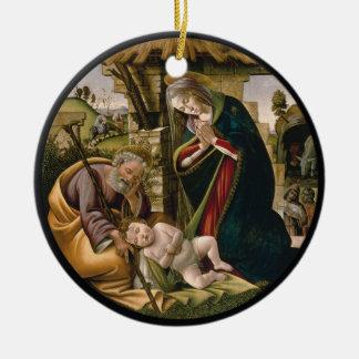 Ornamento De Cerâmica Adoração com Joseph, Mary e bebê Jesus